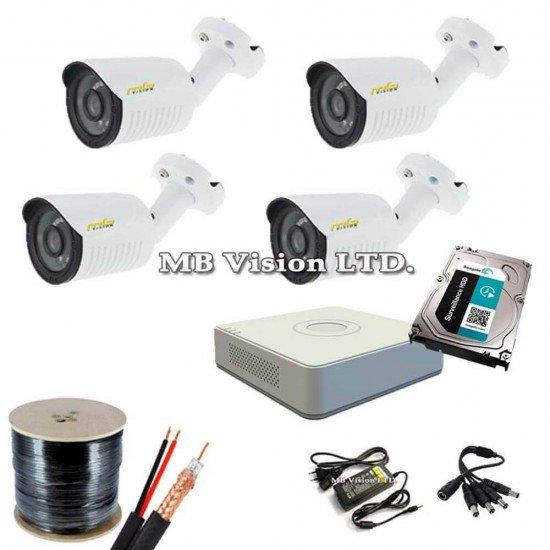 Система за видеонаблюдение 4 камери, ДВР, хард диск и всичко нужно