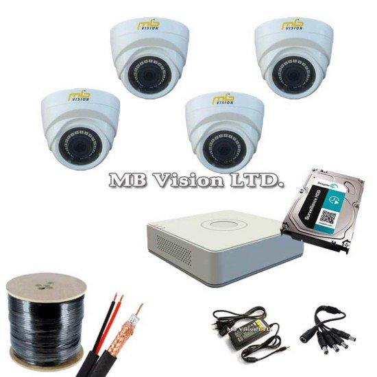 Готова система 4 вътрешни камери, ДВР, хард диск и всичко нужно