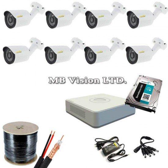 Готова система 8 камери, ДВР, хард диск и всичко нужно